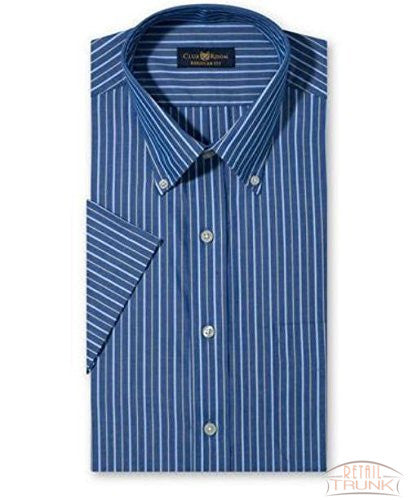 Club Room Estate Yellow / Blue Stripe Short-Sleeved Dress Shirt Men's Size 14.5