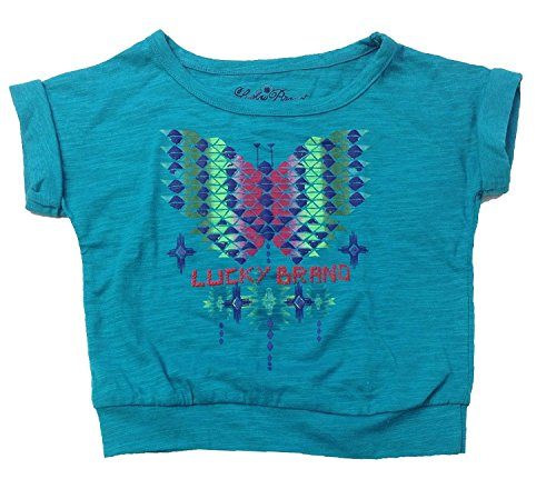 Lucky Brand Little Girls' Butterfly Knit Top, Teal, 4