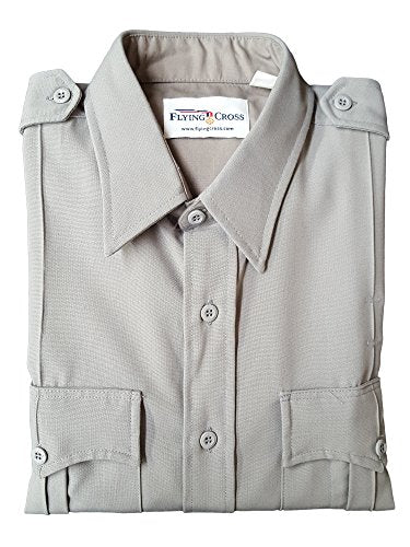 Flying Cross 45W6621 Men's Long Sleeve Police Shirt, Grey