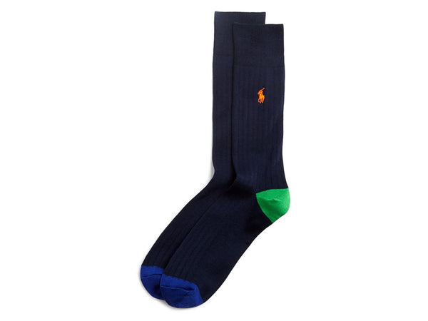 Polo Ralph Lauren Men's 1 Pair Ribbed Knit Colorblock Socks
