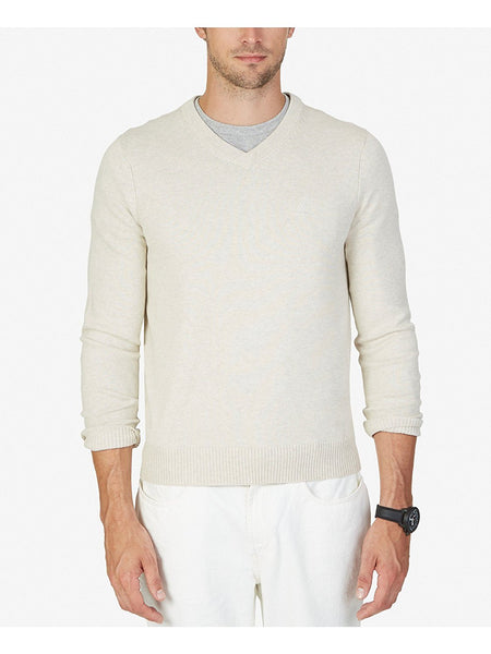 Nautica Men's Sheffield V-Neck Sweater, Marshmallow S