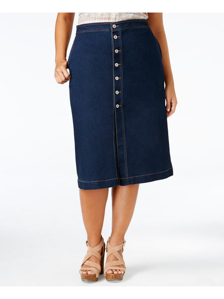 Style & Co. Plus Size Button-Front Skirt, Faroe, 22W