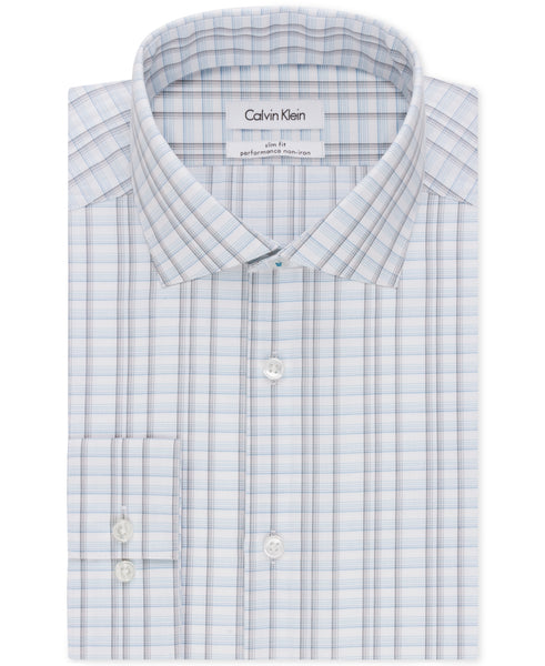 Calvin Klein STEEL Men's Slim-Fit Non-Iron Plaid Shirt