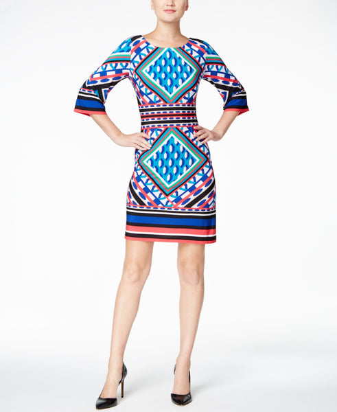 Calvin Klein Women's Geo-Print Bell-Sleeve Jersey Dress