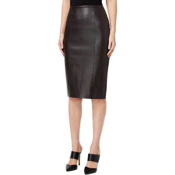 Alfani PRIMA Faux-Leather Pencil Skirt, Espresso Roast, 10