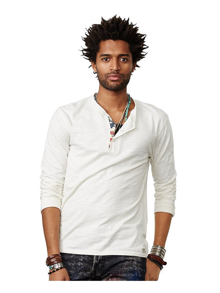 Denim Supply Ralph Lauren Flag-Placket Henley, Antique Cream XXL