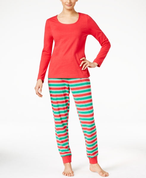 Family Pajamas Women's Holiday Stripe Knit Pajama Set