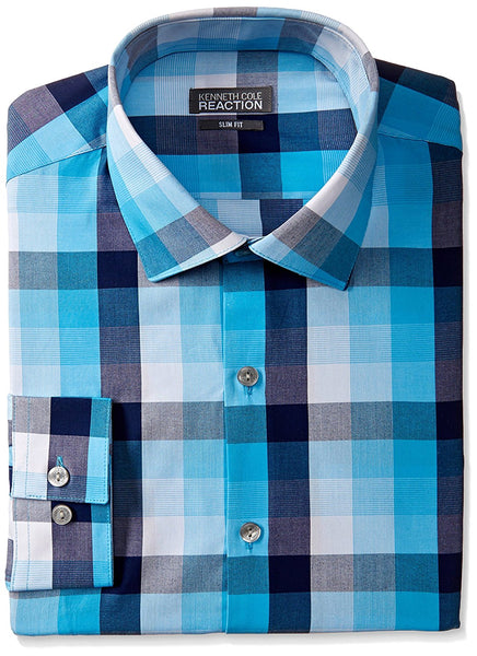 Kenneth Cole Reaction Men's Slim-Fit Checked Dress Shirt