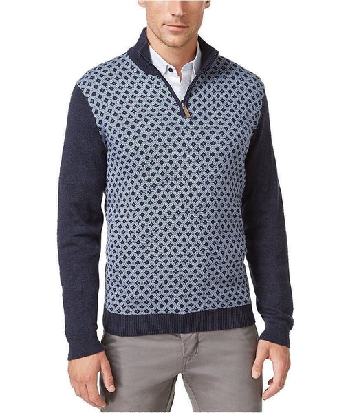 Tasso Elba Men's 1/4 Zip Patterned Sweater, Blue XL