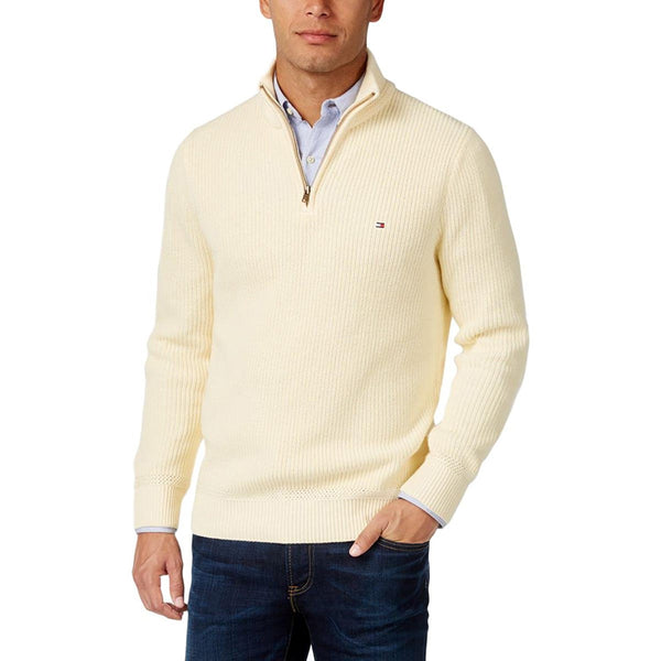 Tommy Hilfiger Men's Harrington Ribbed Trim 1/4 Zip Sweater, Ivory XS