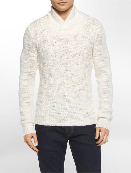 Calvin Klein Men's Asymmetric Cable-Knit Shawl-Collar Sweater