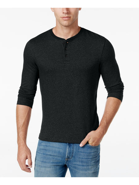 Club Room Men's Herringbone Printed Henley Shirt, Black S