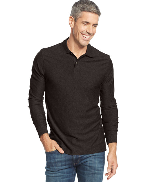Tasso Elba Men's Long-Sleeve Heathered Polo