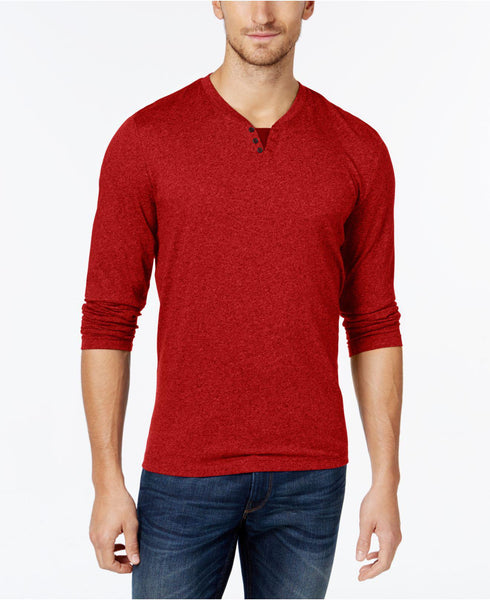 Alfani Men's Heather Long-Sleeve Split Crewneck T-Shirt, Red XXL