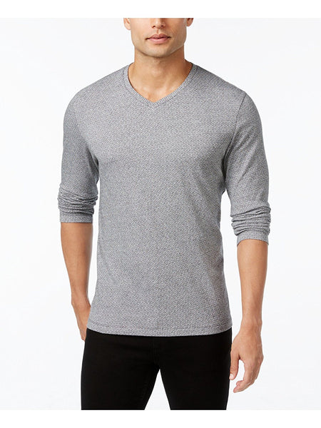 Alfani Men's Jacquard V-Neck Long-Sleeve T-Shirt