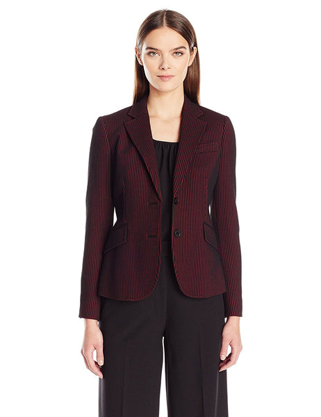 Anne Klein Women's Seersucker Stripe Jacket, Cordoba Red/Black, 16
