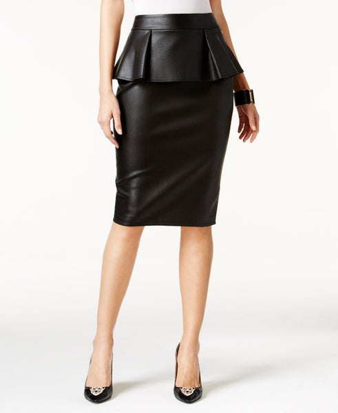 Thalia Sodi Women's Faux-Leather Peplum Pencil Skirt