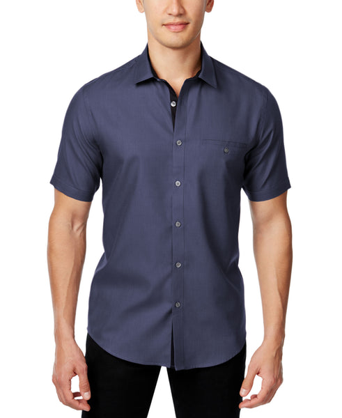Alfani Men's Slim Fit Textured Short-Sleeve Shirt