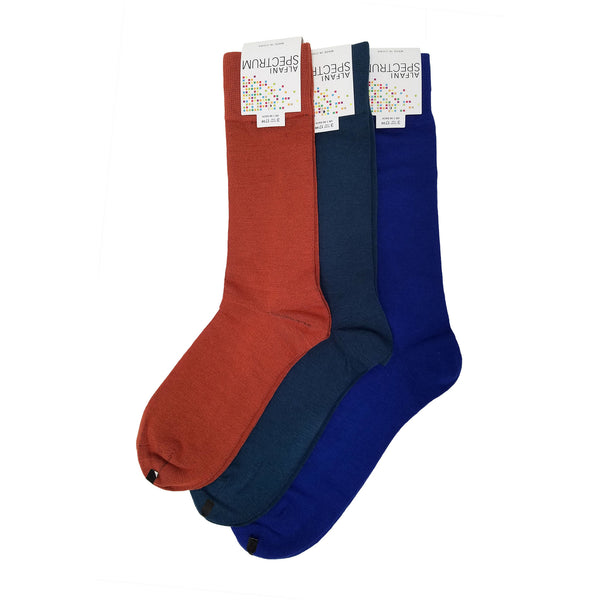 Alfani Spectrum Dress Socks, Mul Color Set 3 (10-13, Cobalt/Storm Blue/Pumpkin)