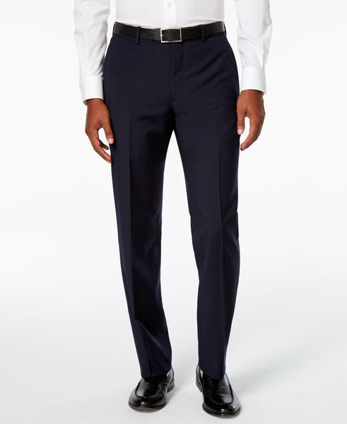 Bar III Men's Windowpane Flat Front Slim Fit Dress Pants