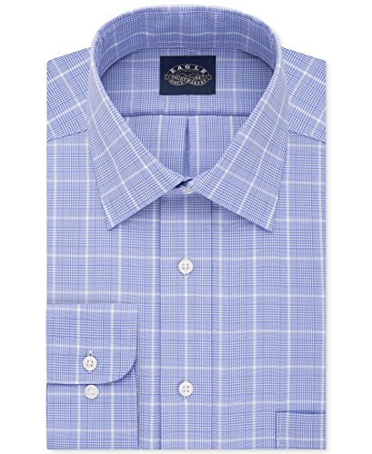 Eagle Men's Classic-Fit Stretch Collar Check Dress Shirt