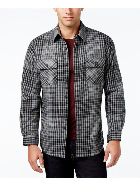 Club Room Men's Lined Plaid Shirt Jacket (Medium Grey Htr, XL)