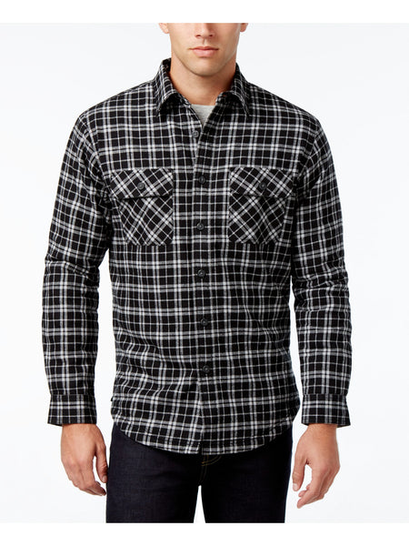 Club Room Men's Lined Plaid Shirt Jacket, Black Small