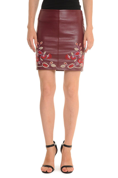 Romeo and Juliet Couture Embroidered Mini Skirt, Maroon, Medium