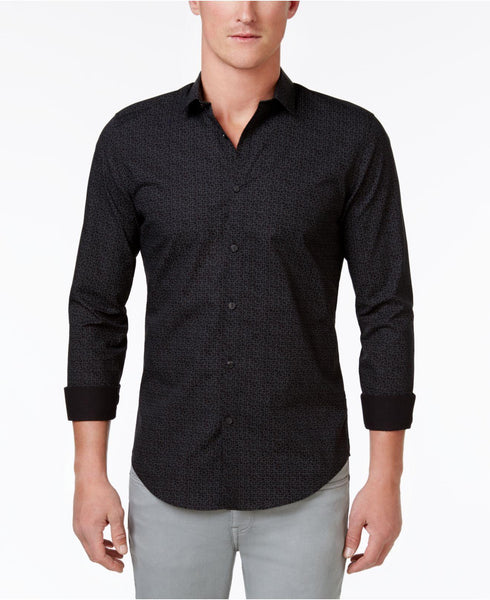 Calvin Klein Men's KJ Slim-Fit Geometric Cotton Shirt
