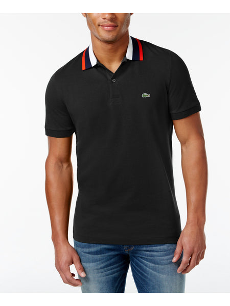 Lacoste Men's Contrast-Collar Pique Polo, Black 4XL