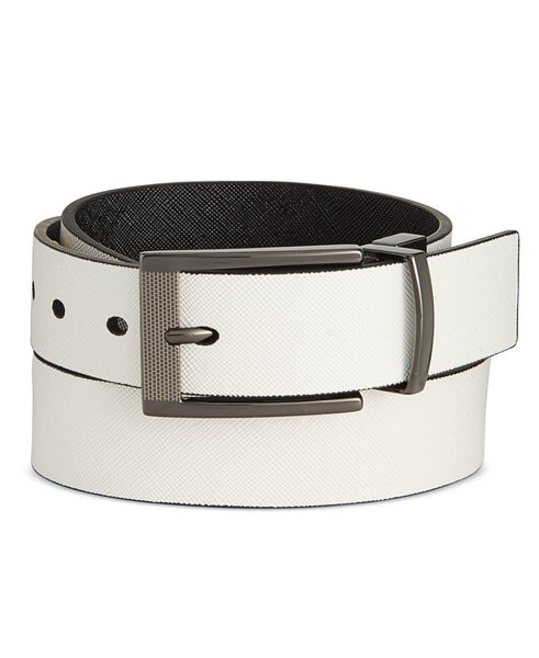 Alfani Men's Cut-Edge Saffiano-Texture Reversible Belt
