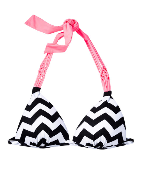 Hula Honey Women's Chevron Macramé-Trim Push-Up Bikini Top