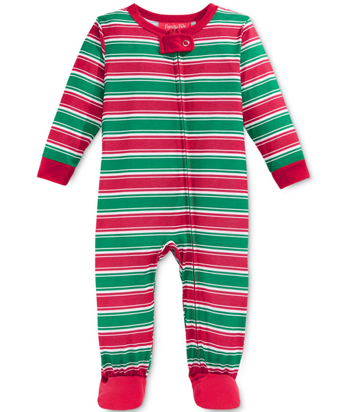 Family Pajamas Baby Boys' or Baby Girls' Holiday Stripe Knit Footed Pajamas
