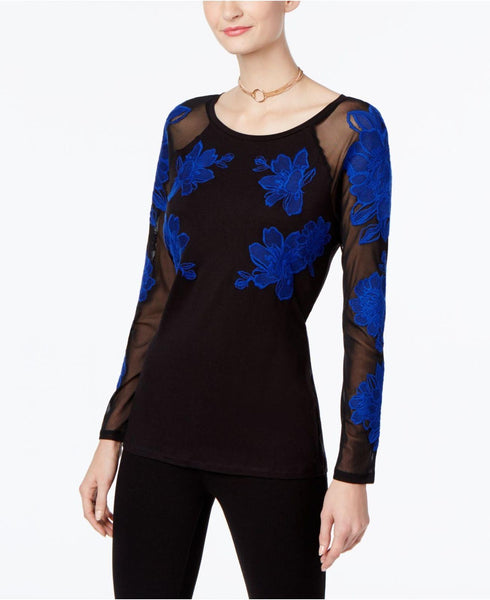 Inc Women's Illusion Sleeves Embroidered Blouse, Blue, Small