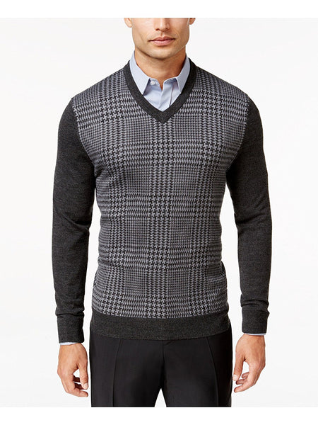 Club Room Men's Merino Wool Houndstooth, Ebony Heather, 3XL