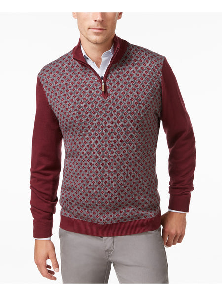 Tasso Elba Men's 1/4 Zip Patterned Sweater, Port Combo XL