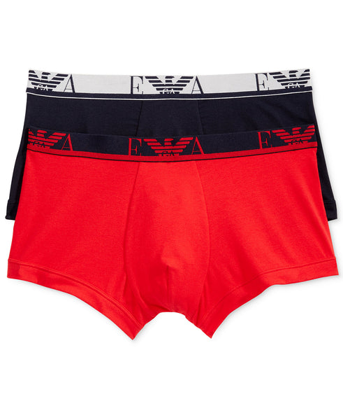 Emporio Armani Men's 2 Pack Cotton Stretch Trunks