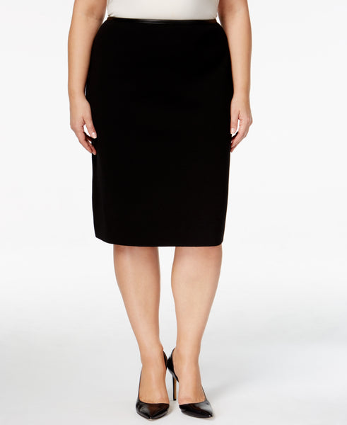 Calvin Klein Women's Plus Size Faux-Leather-Trim Pencil Skirt
