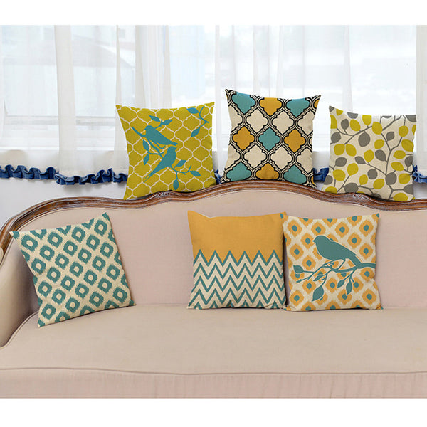Yellow and Green Geometric Throw Pillows - Assorted Styles