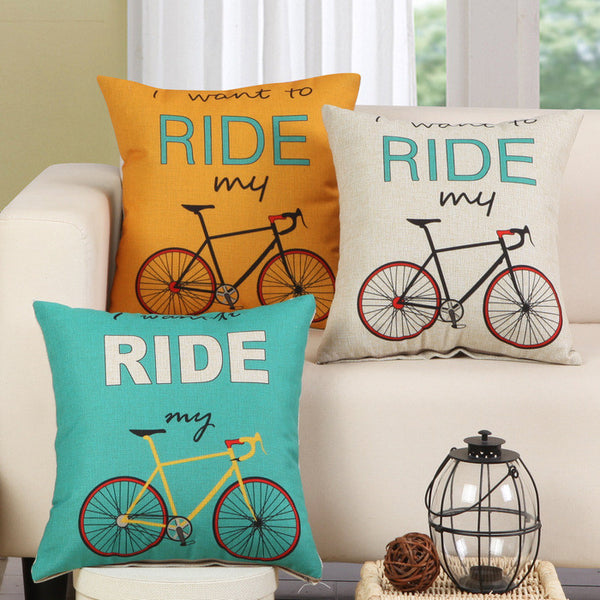 """I Want To Ride My Bicycle"" Throw Pillow Cover"