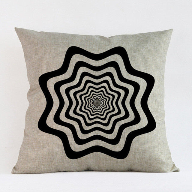 Abstract Black and White Throw Pillow - Assorted Styles