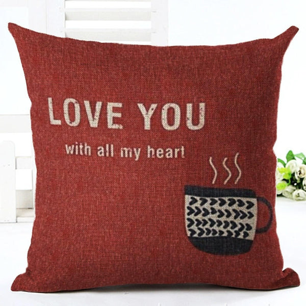 """Love You"" Throw Pillow Cover"