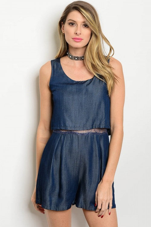 Denim Navy Romper
