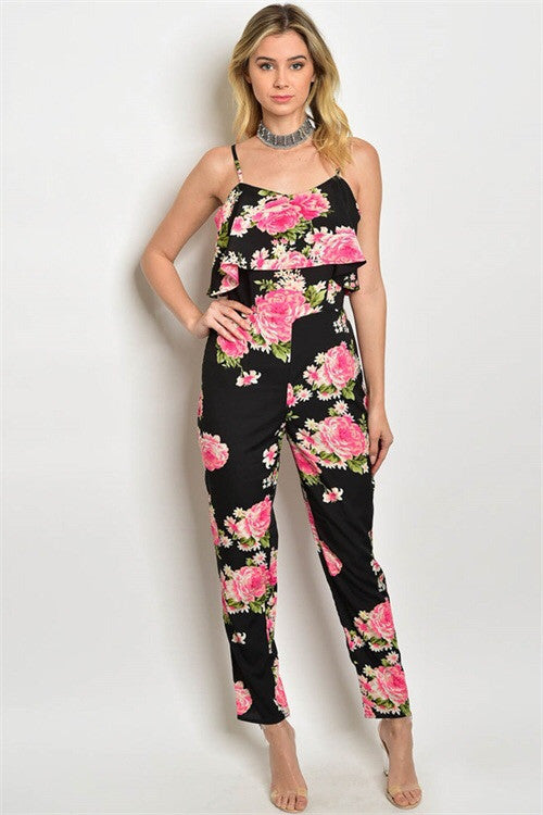 Pink Flowers Jumpsuit
