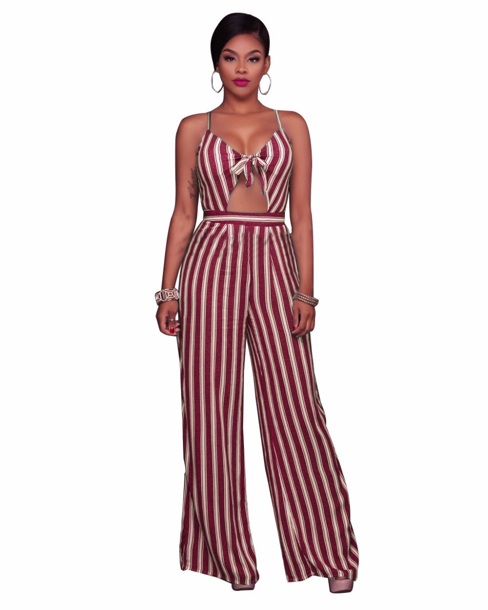 Wine Striped Jumpsuit