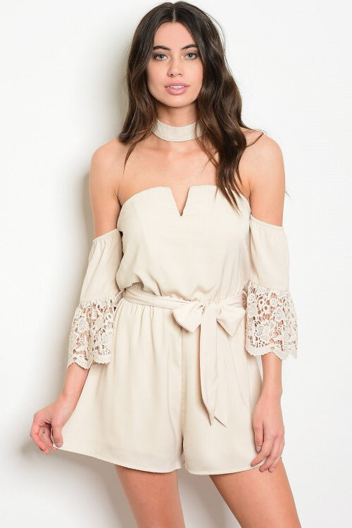 Beige Choker Romper - Medium