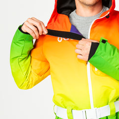 Over the rainbow all in one ski suit onesie fleecy chin guard