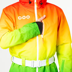 Over the rainbow all in one ski suit onesie map pocket