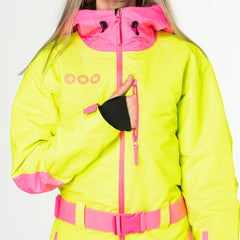 Rubarb and Custard all in one ski suit onesie map pocket