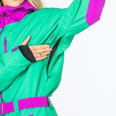 The Hulk all in one ski suit onesie underarm vent
